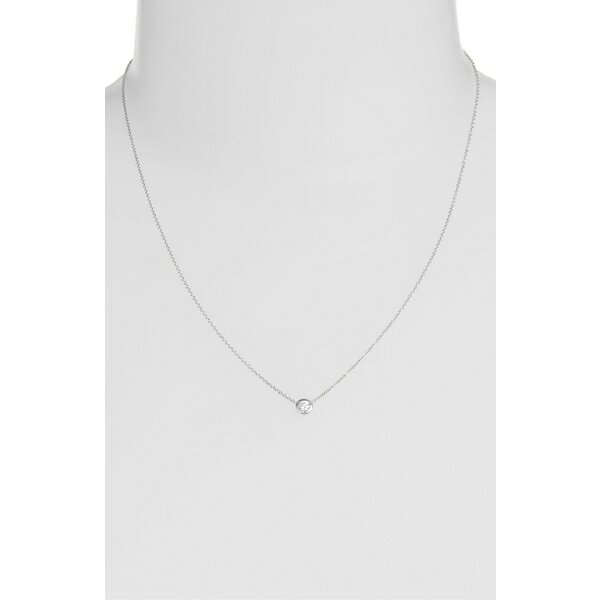 ボニー レヴィ レディース ネックレス・チョーカー・ペンダントトップ アクセサリー Bony Levy Small Bezel Diamond Solitaire Necklace (Nordstrom Exclusive) White Gold/ Diamond