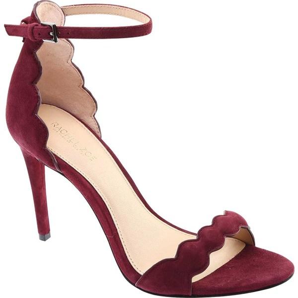 サンダル, コンフォートサンダル  Womens Rachel Zoe Ava Scalloped Ankle Strap Sandal In Suede Cabernet Suede