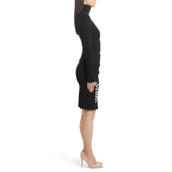 オフホワイト レディース ワンピース トップス Off-White Side Ruched Short Dress Black White