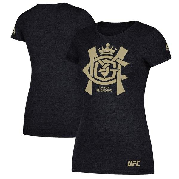リーボック レディース Tシャツ トップス Conor McGregor UFC Reebok Women's Foil TShirt Heather Black