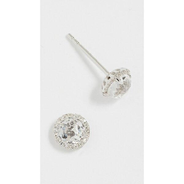 エフコレクション レディース ピアス&イヤリング アクセサリー 14k Gold Diamond White Topaz Stud Earrings Clear/White Gold