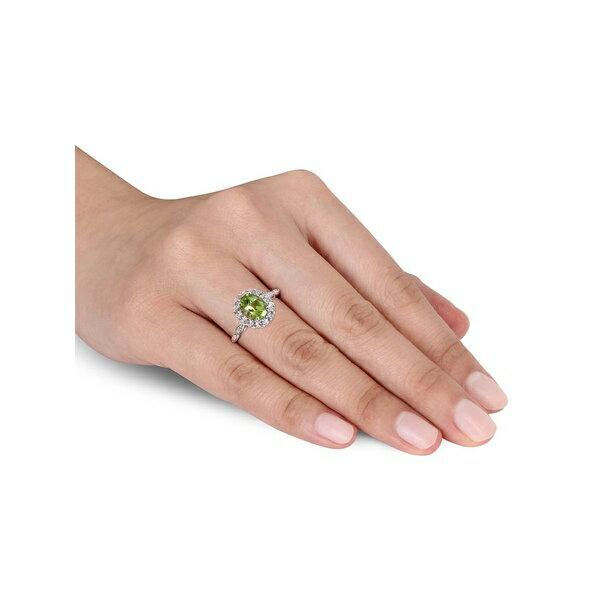 ソナティナ レディース リング アクセサリー 14K White Gold, Peridot, White Topaz & Diamond Halo Vintage Ring White Gold