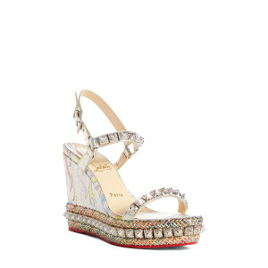 Christian Louboutin Women's Sandals Shoes Pira Flame Studded Wedge Sandal Multi Flame