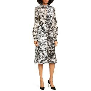 エーエルシー レディース ワンピース トップス A.L.C. Kennedy Long Sleeve Tiger Print Dress White/ Beige Multi