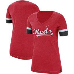 ナイキ レディース Tシャツ トップス Cincinnati Reds Nike Women's Mesh VNeck TShirt Red