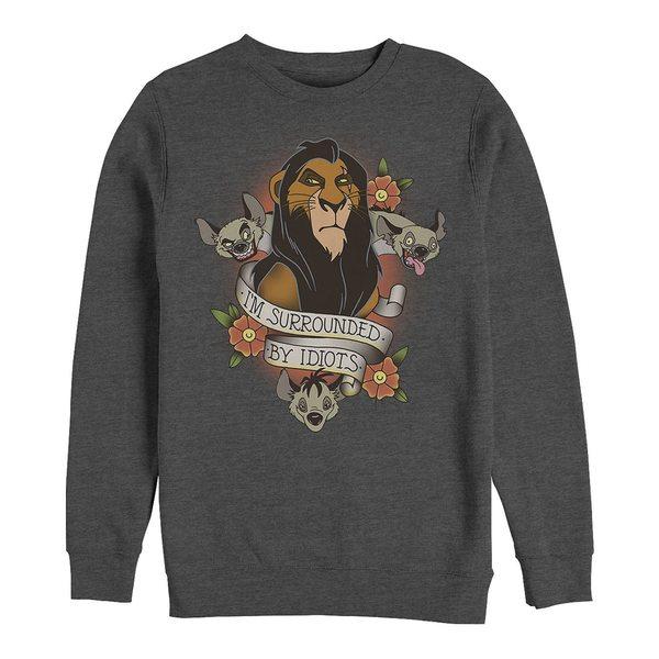 トップス, パーカー  Mens Lion King Scar Surrounded by Idiots Tattoo, Crewneck Fleece Dark Gray