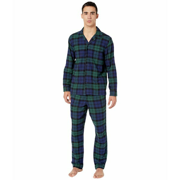 ナイトウェア・ルームウェア, パジャマ  Flannel Pajama Set in Black Watch Tartan Dark Moss