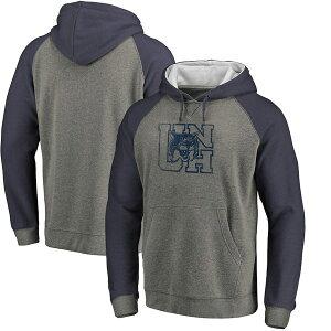 ファナティクス メンズ パーカー・スウェットシャツ アウター New Hampshire Wildcats Fanatics Branded College Vault Primary Logo Tri-Blend Raglan Pullover Hoodie Ash