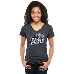 ファナティクス レディース Tシャツ トップス New Hampshire Wildcats Women's Classic Primary Tri-Blend V-Neck T-Shirt Navy