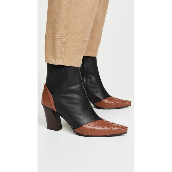 レイクネン レディース ブーツ&レインブーツ シューズ String Embroidery Slim Boots Brown/Black