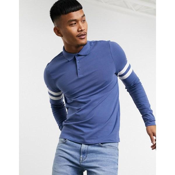 エイソス メンズ ポロシャツ トップス ASOS DESIGN organic skinny long sleeve polo shirt with contrast sleeve stripes in gray Coastal fjord