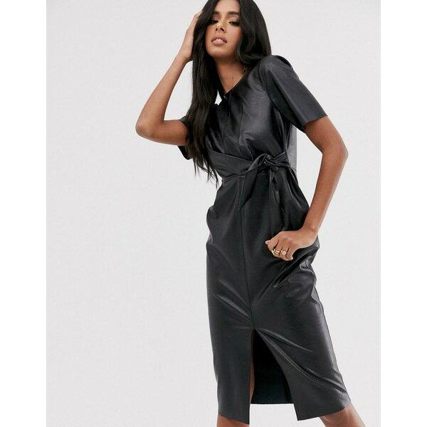 スーツ・セットアップ, ワンピーススーツ  ASOS DESIGN leather look tie side midi pencil dress Black