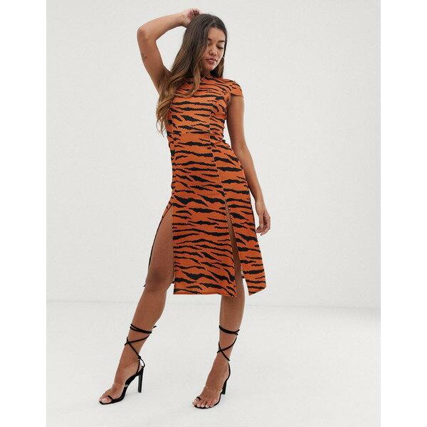 スーツ・セットアップ, ワンピーススーツ  ASOS DESIGN high split skater midi dress in tiger print Tiger print