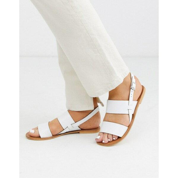 エイソス レディース サンダル シューズ ASOS DESIGN Foxglove leather sandal in white White画像
