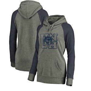 ファナティクス レディース パーカー・スウェットシャツ アウター New Hampshire Wildcats Fanatics Branded Women's College Vault Primary Logo Tri-Blend Raglan Pullover Hoodie Ash