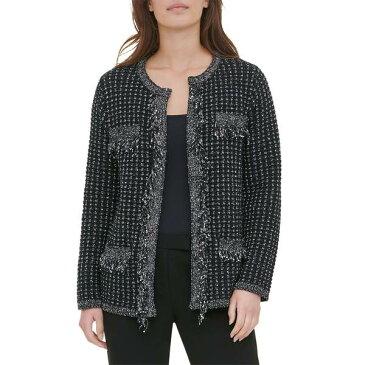 カルバンクライン レディース コート アウター Tweed Open Sweater Jacket Black Tweed