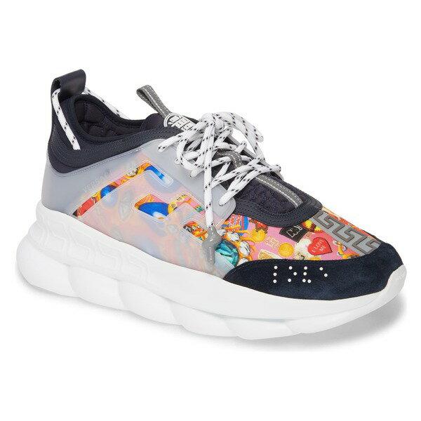 ヴェルサーチ メンズ スニーカー シューズ Versace Chain Reaction Sneaker (Men) Multicolor/ Navy