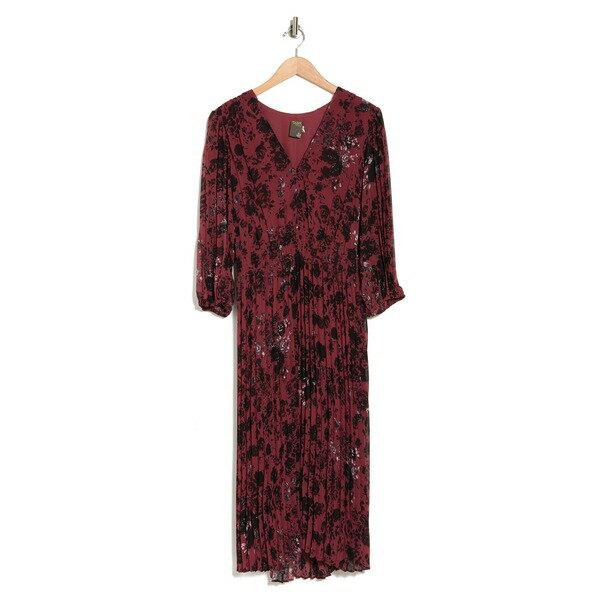 スーツ・セットアップ, ワンピーススーツ  Floral V-Neck Pleated Midi Dress -