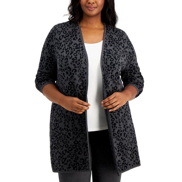 ニット・セーター, セーター  Plus Size Animal-Print Cardigan, Created for Macys Charcoal Heather Combo
