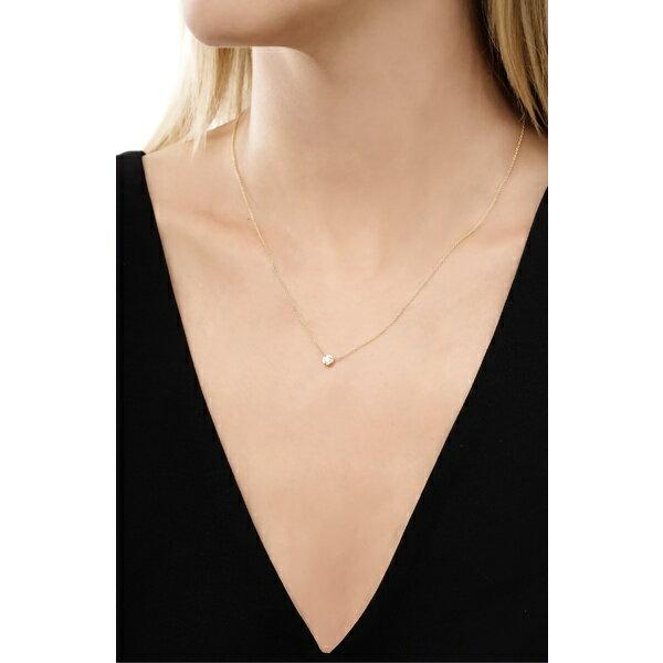 ボニー レヴィ レディース ネックレス・チョーカー・ペンダントトップ アクセサリー Bony Levy Small Bezel Diamond Solitaire Necklace (Nordstrom Exclusive) Yellow Gold/ Diamond