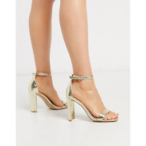 グラマラス レディース ヒール シューズ Glamorous barely there heeled sandal in metallic gold snake Light gold snake