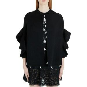 Veste et blouson pour femme Valentino Cape en laine et cachemire à volants extérieurs 0no-noir