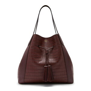 Mulberry Women's Tote Bag Bag Millie Matte Croc Embossed Leather Tote Burgundy