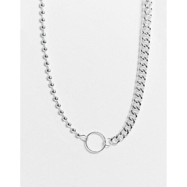 チェーンドアンドエブル メンズ ネックレス・チョーカー アクセサリー Chained & Able neckchain in silver with mixed chain detail and clasp Silver