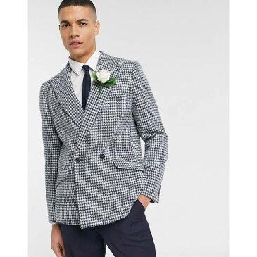 エイソス メンズ ジャケット&ブルゾン アウター ASOS DESIGN wedding Harris Tweed slim double breasted blazer in wool large scale houndstooth Blue