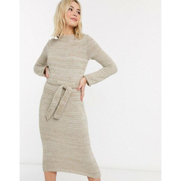 スーツ・セットアップ, ワンピーススーツ  ASOS DESIGN knitted midi dress with belt Oatmeal