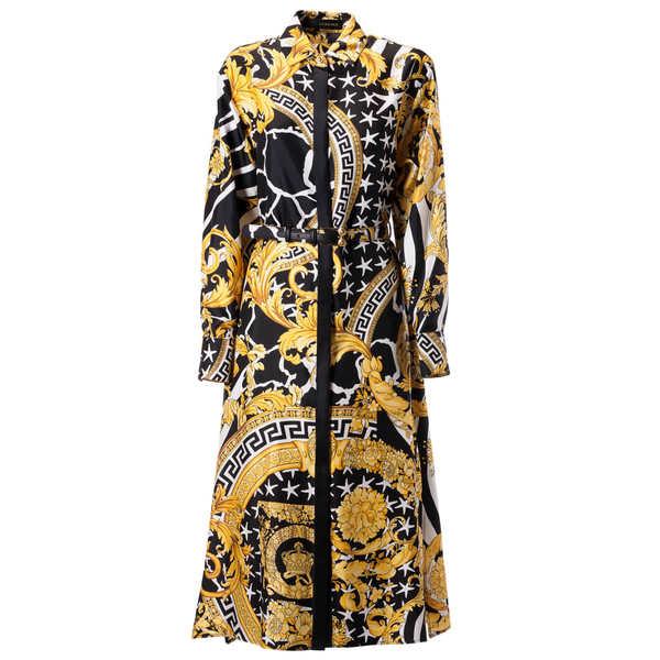 ヴェルサーチ レディース ワンピース トップス Versace Baroque Print Long Dress Nerostampaoro