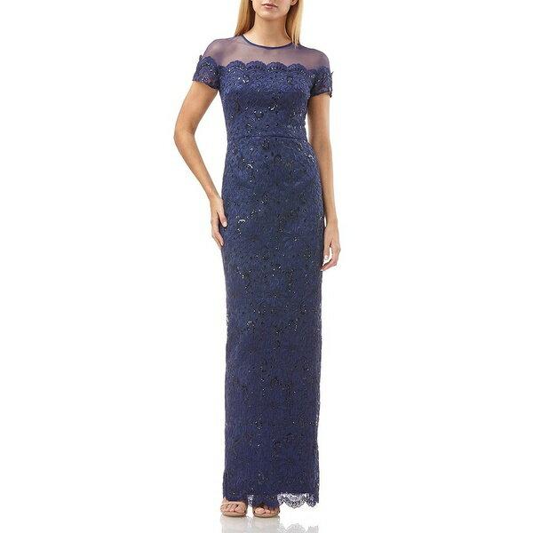 ジェイエスコレクションズ レディース ワンピース トップス Illusion Yoke Lace Gown Navy