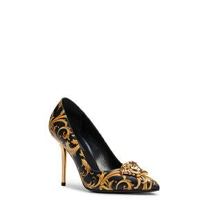 ヴェルサーチ レディース パンプス シューズ Palazzo Pointed Toe Pump Black/ Gold