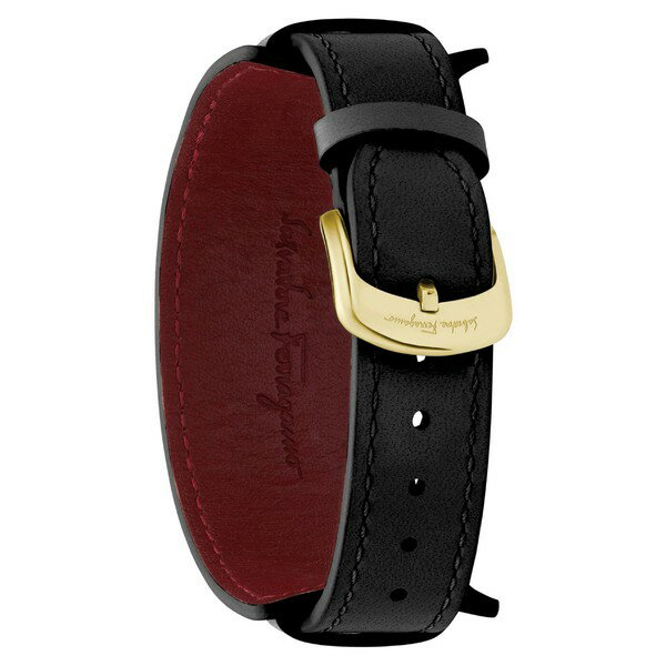 サルヴァトーレ フェラガモ レディース 腕時計 アクセサリー Salvatore Ferragamo Fiore Studs Leather Strap Watch, 34mm Black/ Gold