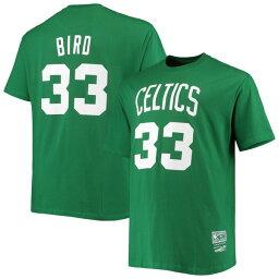 ミッチェル&ネス メンズ Tシャツ トップス Larry Bird Boston Celtics Big & Tall Hardwood Classics Name & Number TShirt Kelly Green
