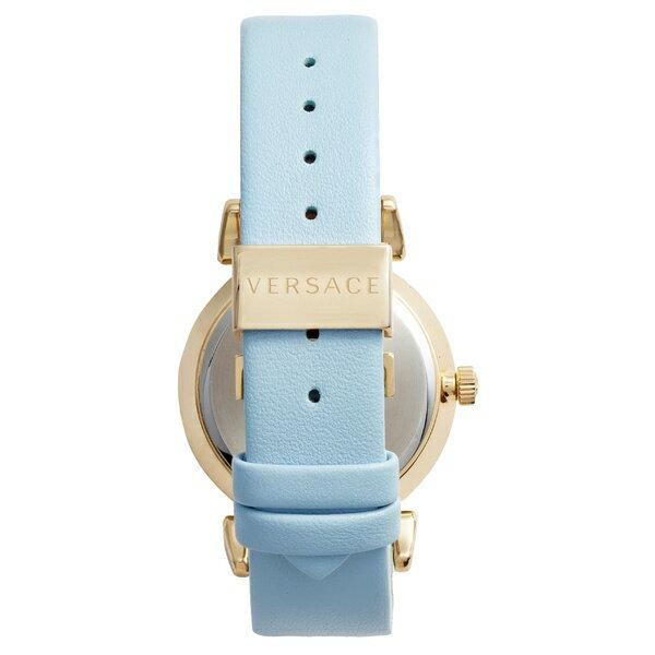 ヴェルサーチ レディース 腕時計 アクセサリー Versace V Motif Leather Strap Watch, 35mm Blue/ Gold