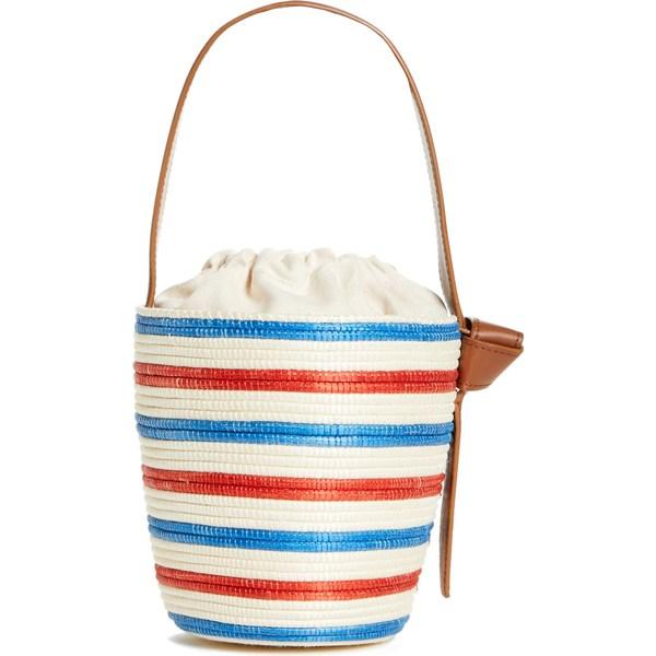 ラ リンニュ レディース ハンドバッグ バッグ La Ligne x Cesta US Navy Lunch Pail Straw Handbag Red Blue