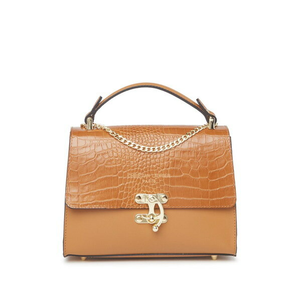 レディースバッグ, ハンドバッグ  Sia Croc Embossed Leather Chain Strap Satchel CAMEL