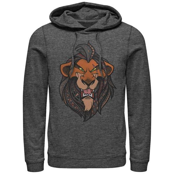 トップス, パーカー  Mens Lion King Scar Geometric Pattern Fill Portrait, Pullover Hoodie Dark Gray