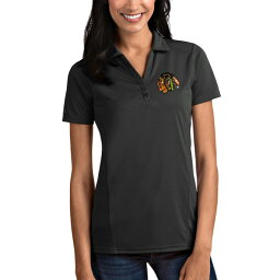 アンティグア レディース ポロシャツ トップス Chicago Blackhawks Antigua Women's Tribute Polo Gray