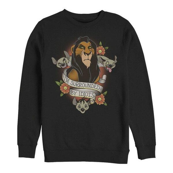 トップス, パーカー  Mens Lion King Scar Surrounded by Idiots Tattoo, Crewneck Fleece Black