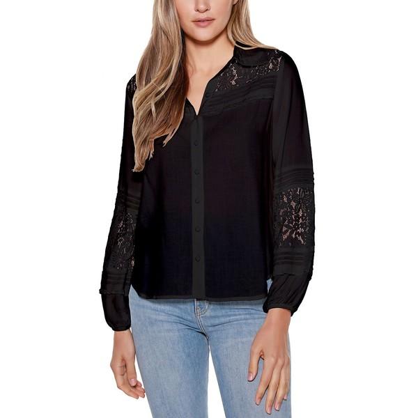 トップス, キャミソール  Black Label Button Front Collared Shirt Black