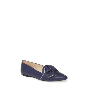 Tod's Women's Slip-on Loafers Shoes Studded Bow Loafer Navy