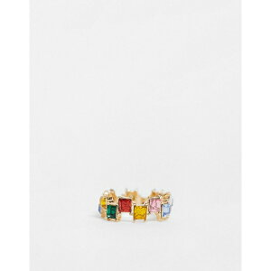 エイソス レディース リング アクセサリー ASOS DESIGN ring with square rainbow stones in gold tone Gold