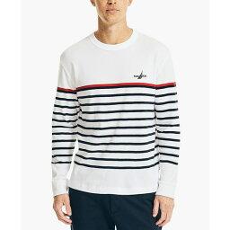ナウティカ メンズ ニット&セーター アウター Men's Striped Sweater Bright White