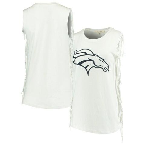 ジャンクフード レディース Tシャツ トップス Denver Broncos Junk Food Women's Fringe Tank Top White