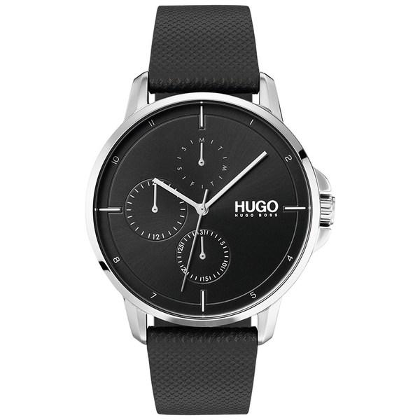 腕時計, レディース腕時計  Mens Focus Black Leather Strap Watch 42mm No Color