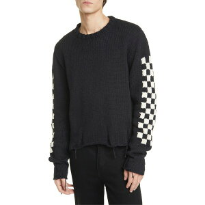 ルード メンズ ニット&セーター アウター RHUDE Checkerboard Jacquard Distressed Sweater Black