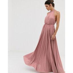エイソス レディース ワンピース トップス ASOS DESIGN halter pleated waist maxi dress in rose Rose