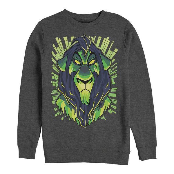 トップス, パーカー  Mens Lion King Scar Evil Geometric, Crewneck Fleece Dark Gray